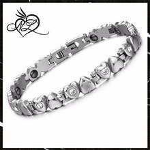 Stainless Steel Women Link Bracelet Solid Heart Link Bracelet Love with Rhinestone Accents