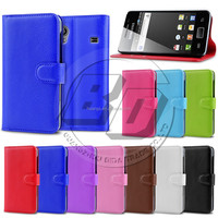 PU Wallet Mobile Phone Case With Credit Card Slots Pouch Stand For Samsung Galaxy Ace S5830 Back Cover Case