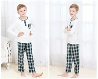 Small MOQ Cotton Boys Cute Pajama Set Knitted Long Sleeve Gingham Pant Children Sleepwear Printed Wicking Kids Weat Set