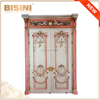 French Baroque Style Pink Frame Swing Double Interior Door/ Solid Wood Hand Carved Antique Finishing Home Decorative Wooden Door