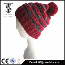Cheap Custom Design warm Winter Hat With Ball On Top