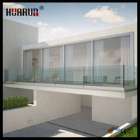 Factory tempered glass railing balcony design aluminum glass fence
