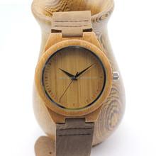 Natural wooden bamboo wrist watch Miyota quartz Japan movement wholesale customize wood watch