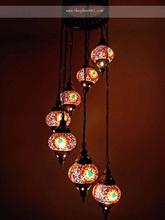 Turkish Handmade 7 Ball mosaic hanging lamp