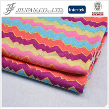 Jiufan Textile 100% Polyester Zig Zag Stripe Printed with Slub Fabric For Lady's Sweater and Dress