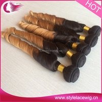 High grade 6a 100% wet and wavy ombre colored indian human hair weave