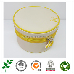 fashion small yellow circular makeup bags lady jewelry bag with butterfly printing