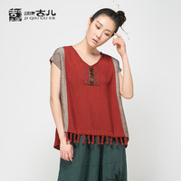 Jiqiuguer 2015 latest women original design fashion cap sleeve t-shirt vintage patchwork tassels t-shirt v-neck casual t-shirt