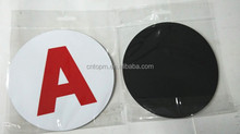 static film round A alphabet car sign that 1mm soft magnet sheet and 0.1mm white pvc