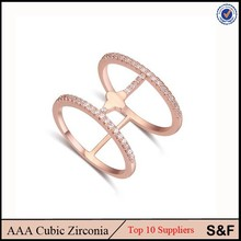 Latest Design Zircon With Alloy Two Finger Ring Brass Jewelry