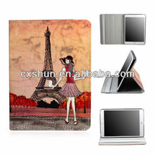 Fashion Girl Eiffel Tower Thin PU Leather Stand Case for iPad mini