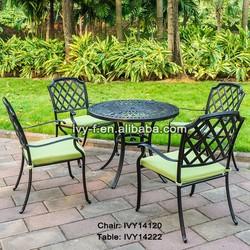 coffee shop metal garden chair slat/aluminum slat dining set 4 seating/bronze metal dining chair
