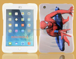 Stylish customized 3D Spider man painting tablet case for iPad mini retina dual layers protective stand cover