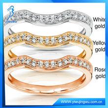 2014 Fashion Silver Jewelry Diamond Curved Wedding Band