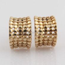 Traditional craft fashion trim geometry design china factory zinc metal base yellow gold tone srew back metal plate earring