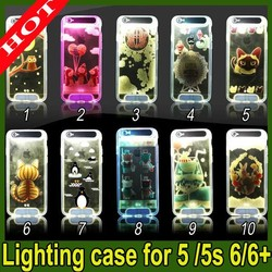 2015 New TPU Material Back Cover Phone Calling LED Flash Light Case For iPhone 5 5s 6 6 plus