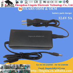 Japan plug 12.6V 5A portable charger for 18650 lithium ion battery pack