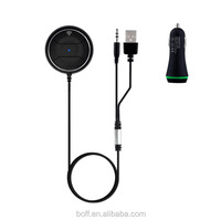 High quality aux bluetooth 4.0 car kit for hands free music streaming or calling with 3.5mm audio jack for iphone