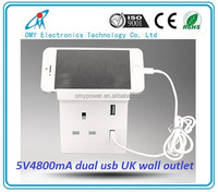 British Standard wall plug UK Wall Socket 5V4.8A usb power outlet fast charging power supply