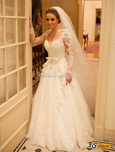 vestido de noiva com manga renda Bride Wedding Dress 2015 Beaded Appliques Lace Wedding Gowns Sleeve Wedding Dresses