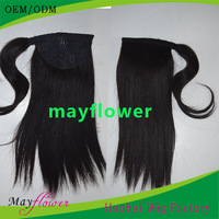 Natural black can be dyed custom made fast shipping virgin remy human hair brazilian fake hair ponytails black women