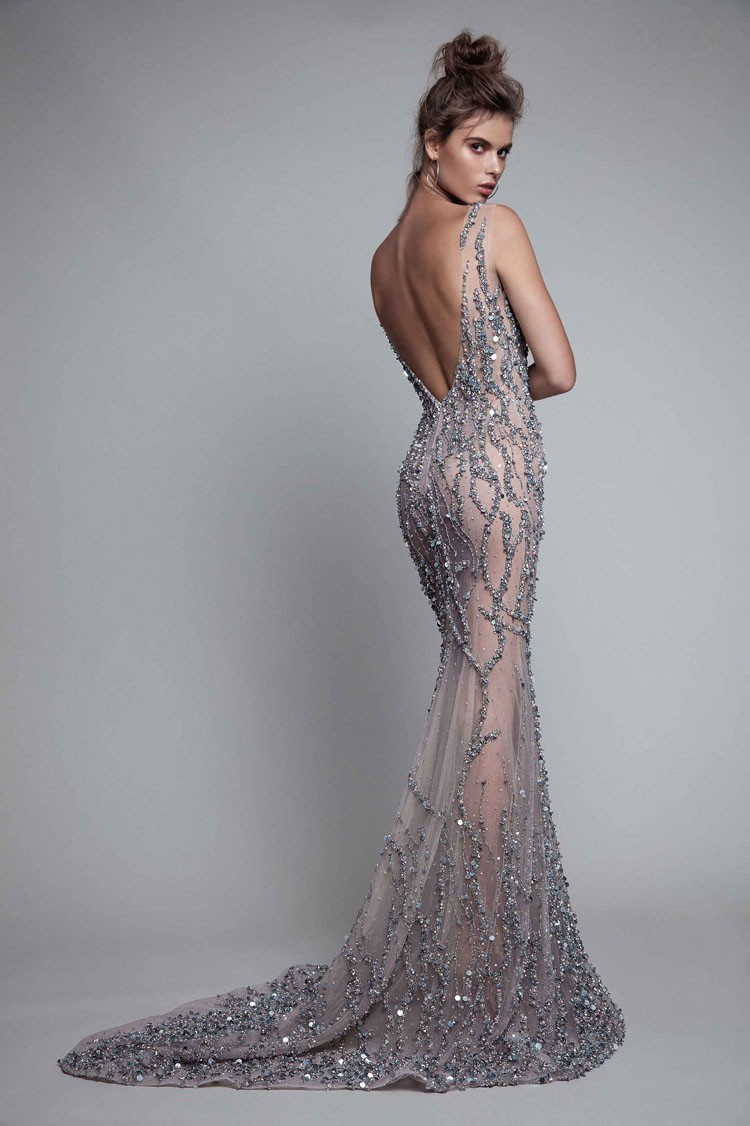 Luxury Beaded Evening Dress Sliver Grey Wedding Dresses Tunisia ...