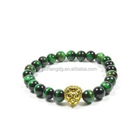 8 mm Green Tiger Eye Men's Bracelet with a Gold Colored Lion Head