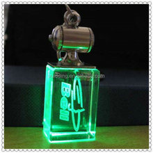 Fancy Green Lighting Company Branded 3D Etched Crystal Keychain