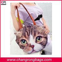 New Arrival!!!Cheap PU cotton fabric 3D cat/dog animal Shoulder Bag,handbag,tote bag