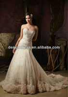 Luxe New Strapless Designer Intricately Beaded Embroidery on net with Ruffled Tulle Wedding Dresses Bridal Gowns