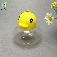 300ml transparent duck shaped plastic candy jars with lid for sale