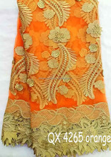 Mikemaycall Wholesale Tulle Lace/ Orange French Net Lace Embroider/french beaded lace QX 4265 orange