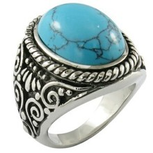 hot sale and cheap stainless steel mosaic turquoise big ring