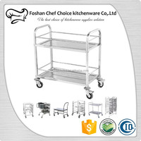 1.0mm Thickness Stainless Steel Beverage and Tea Serving Trolley Back Wheels with Brake 2 shelf Beverage Trolley Cart