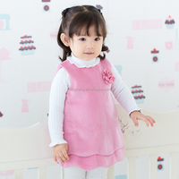 80071 baby clothes wholesale price baby dress ups 2 layers winter dress