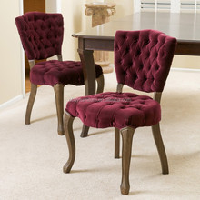 Vintage Oak Wood Side Chair /Tufted Dark Purple Fabric Dining Chairs