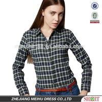 2015 latest fashionable ladies plaid shirt , lady casual shirt