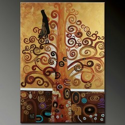 abstract gold tree oil painting hand painted