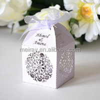 2014 event decor from Mery Crafts! light purple circle flowers laser wedding favor boxes