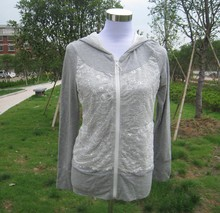 Fashion Women's Hoodie Jacket With Lace