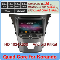 Ownice HD 1024*600 Quad Core Cortex A9 Pure Android 4.4.2 car multimedia system for ssangyong korando Support OBD TPMS