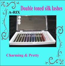 Color False eyelashes two toned lash Individual Eyelash Extensions colorful ombre eyelash