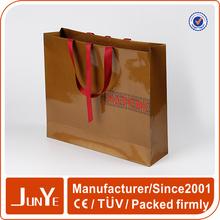 embossed logo print apparel packaging paper bag with handles