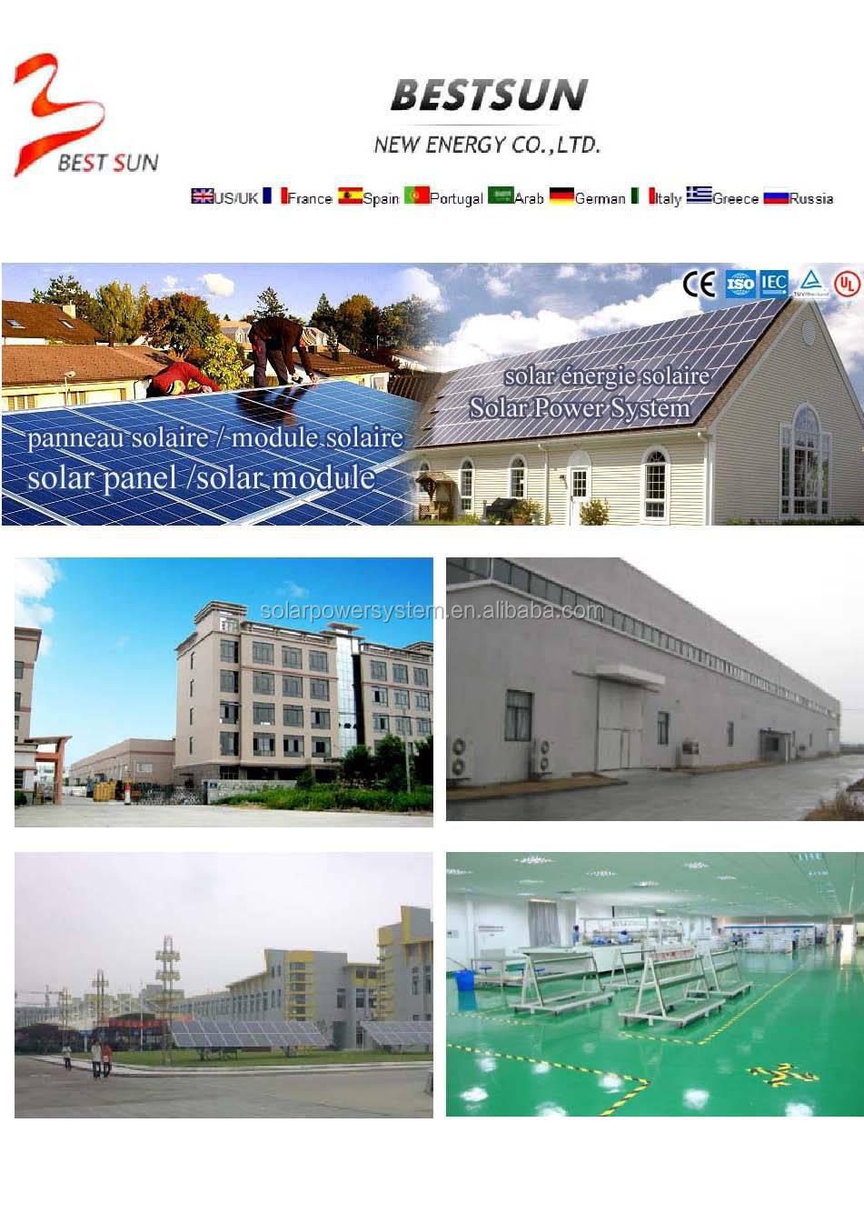 Bestsun haute qualité 15kw prix par watt panneaux solaires en inde