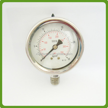 stainless steel 100mm bottom mount low pressure gauge for oil and gas