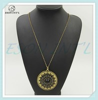 2015 Hotsale Women Gypsy Gold Chain Black Beads Large Disc Pendant Necklace