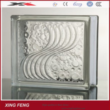 clear wave glass block for outdoor decoration190mm *190mm*80mm