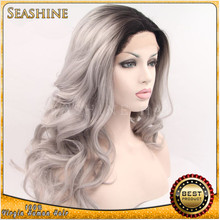 Ombre 1b/grey hair full lace wig brazilian hair two tone gray human hair wig in stock