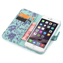 Can be separated folio pu leather wallet case for iphone 6 with card / money slots and magnet