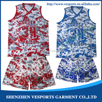2015 new style 100% ployester custom dye sublimation reversible latest basketball jersey with Logo design